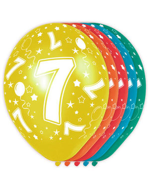 Ballonnen Verjaardag 7 Jaar - 5stk