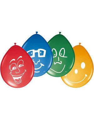 Ballonnen Happy Faces - 8stk