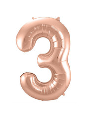 Folieballon Rosé Goud Cijfer 3