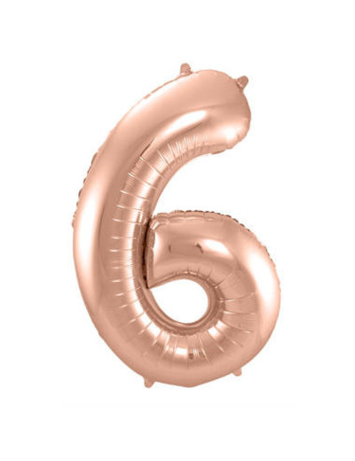 Folieballon Rosé Goud Cijfer 6