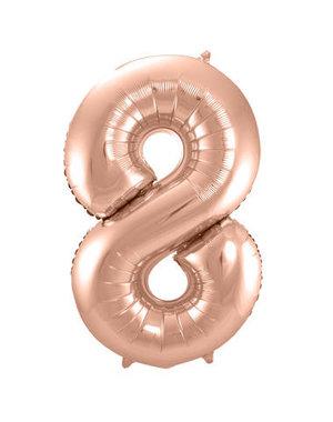 Folieballon Rosé Goud Cijfer 8