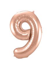 Folieballon Rosé Goud Cijfer 9