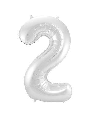 Folieballon Zilver Cijfer 2