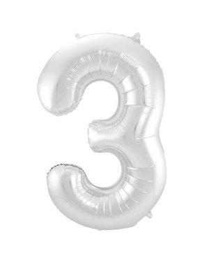 Folieballon Zilver Cijfer 3