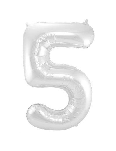 Folieballon Zilver Cijfer 5