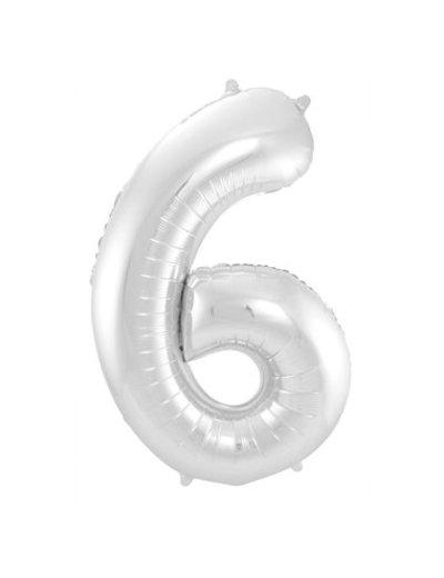 Folieballon Zilver Cijfer 6
