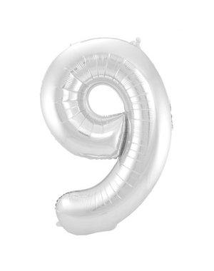 Folieballon Zilver Cijfer 9