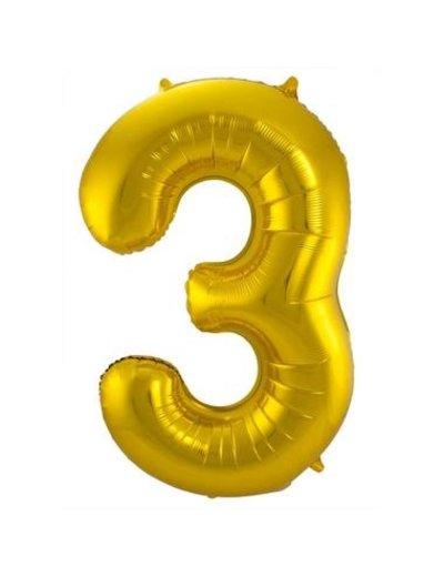 Folieballon Goud Cijfer 3