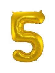 Folieballon Goud Cijfer 5