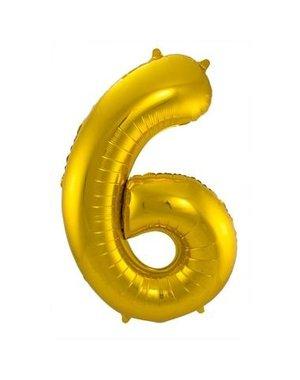 Folieballon Goud Cijfer 6