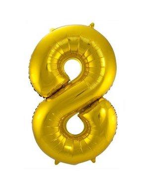 Folieballon Goud Cijfer 8