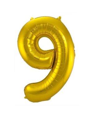 Folieballon Goud Cijfer 9