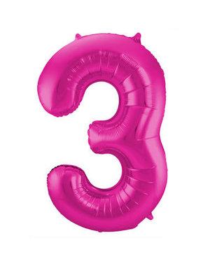 Folieballon Magenta Roze Cijfer 3