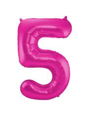 Folieballon Magenta Roze Cijfer 5