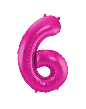 Folieballon Magenta Roze Cijfer 6