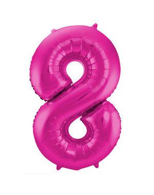 Folieballon Magenta Roze Cijfer 8