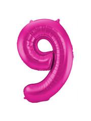 Folieballon Magenta Roze Cijfer 9