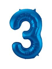 Folieballon Blauw Cijfer 3