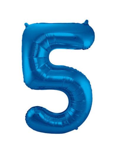 Folieballon Blauw Cijfer 5