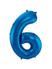 Folieballon Blauw Cijfer 6