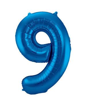 Folieballon Blauw Cijfer 9