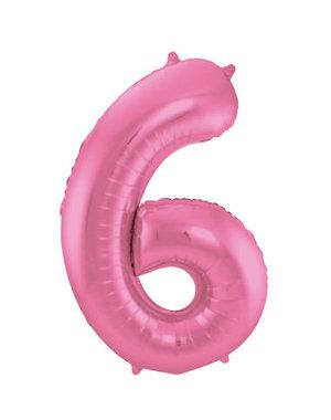Folieballon Mat Roze Cijfer 6