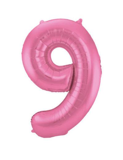 Folieballon Mat Roze Cijfer 9