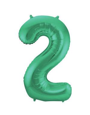 Folieballon Mat Groen Cijfer 2