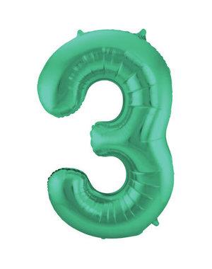 Folieballon Mat Groen Cijfer 3