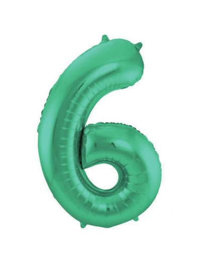 Folieballon Mat Groen Cijfer 6