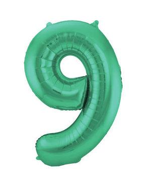 Folieballon Mat Groen Cijfer 9