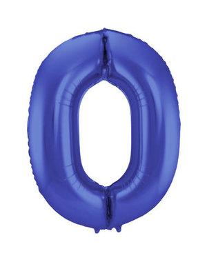 Folieballon Folieballon Mat Blauw Cijfer 0