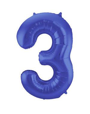 Folieballon Mat Blauw Cijfer 3