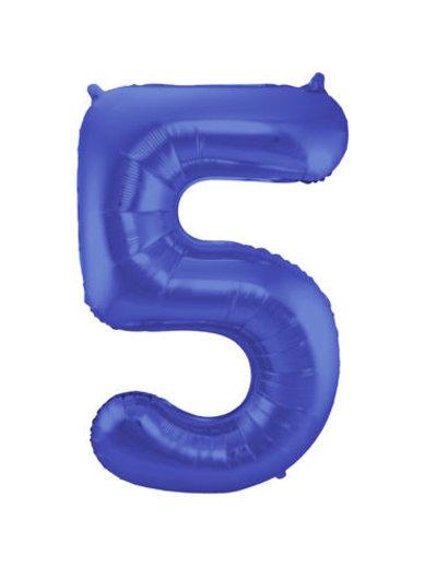 Folieballon Mat Blauw Cijfer 5