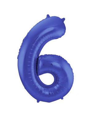 Folieballon Mat Blauw Cijfer 6