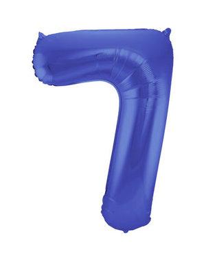 Folieballon Mat Blauw Cijfer 7