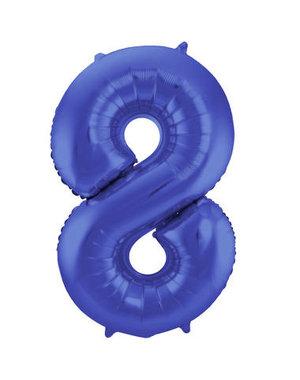 Folieballon Mat Blauw Cijfer 8