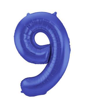 Folieballon Mat Blauw Cijfer 9