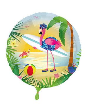Folieballon Surfing Flamingo - 45cm