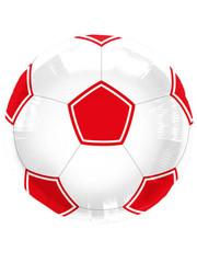 Folieballon Voetbal Rood/Wit - 43cm