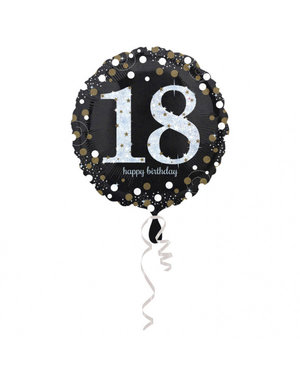 Folieballon Sparkling Zwart/Goud -18 Jaar