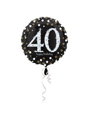 Folieballon Sparkling Zwart/Goud - 40 Jaar