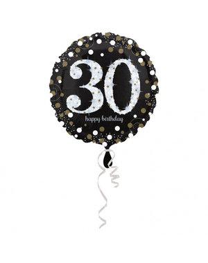Folieballon Sparkling Zwart/Goud -30 Jaar