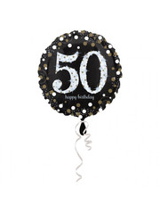 Folieballon Sparkling Zwart/Goud -50 Jaar