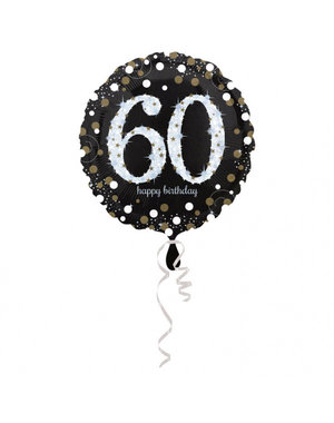 Folieballon Sparkling Zwart/Goud -60 Jaar