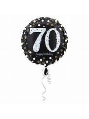 Folieballon Sparkling Zwart/Goud - 70 Jaar