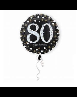 Folieballon Sparkling Zwart/Goud - 80 Jaar