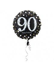Folieballon Sparkling Zwart/Goud - 90 Jaar