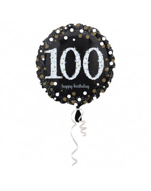 Folieballon Sparkling Zwart/Goud - 100 Jaar