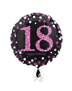 Folieballon Sparkling Zwart/Roze -18 Jaar